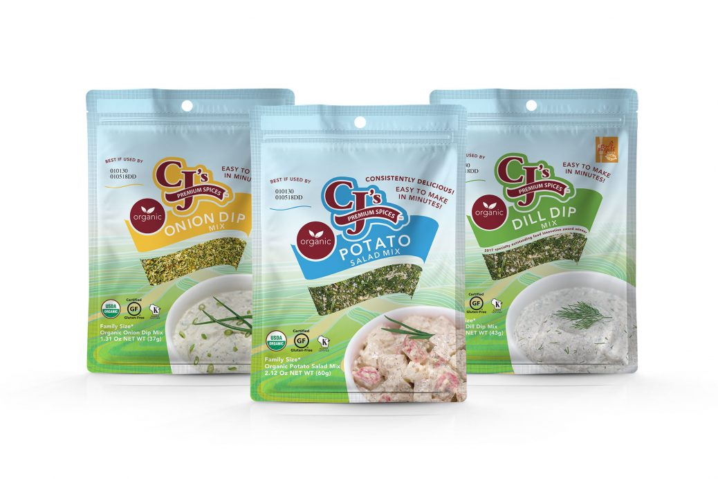 CJ's Premium Spice Products, online ordering, Delicious Gluten Free Products, Gluten-Free certification by GFCO, CJ's Premium Spices debuts new packaging, gluten-free certified Organic Spice Blends, CJ's Organic Spice Blends, Organic Potato Salad Mix, Organic Dill Dip Mix, Organic Onion Dip Mix, gluten-free by GFCO, GFCO, delicious, clean label ingredients, craft blended, kosher